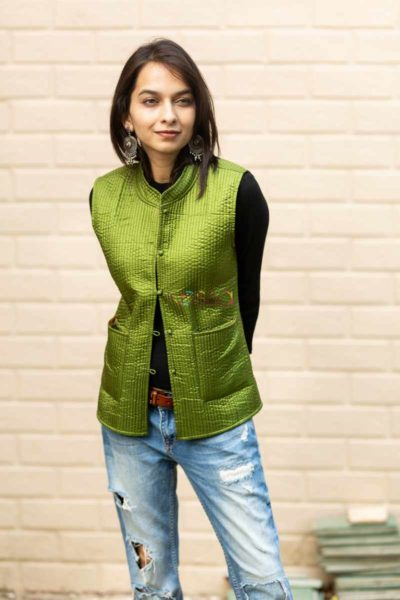 Kessa Sj17 Trendy Green And Blue Half Jacket Front 2