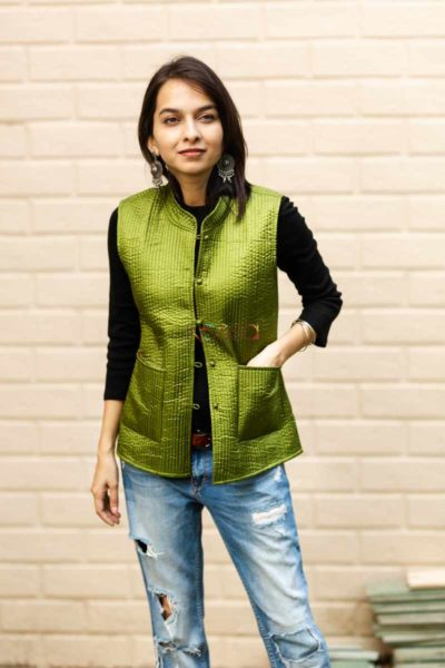 Kessa Sj17 Trendy Green And Blue Half Jacket Front 3