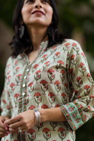 Kessa Wsr79 Indian Khaki Block Printed A Line Kurta Closeup 2
