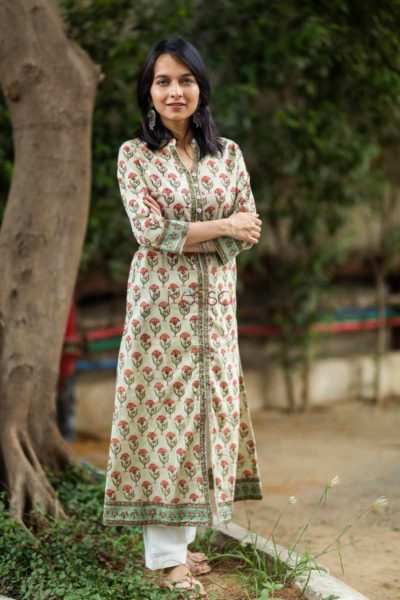 Kessa Wsr79 Indian Khaki Block Printed A Line Kurta Side