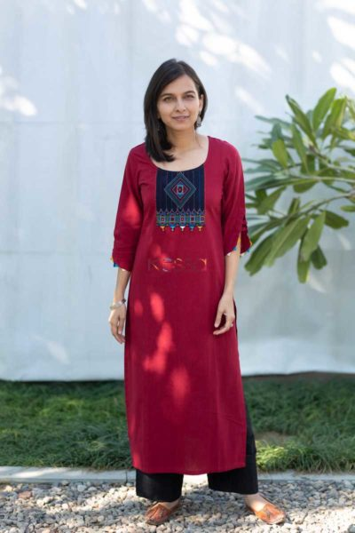 Kessa Ws508 Merlot South Cotton Kurta With Hand Embroidery Patch Featured