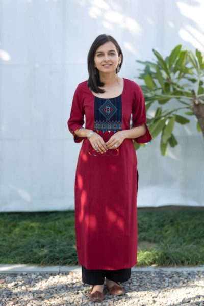 Kessa Ws508 Merlot South Cotton Kurta With Hand Embroidery Patch Front 2