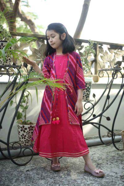 Kessa Wsk32 Maroon Blush Lehriya Dress Featured