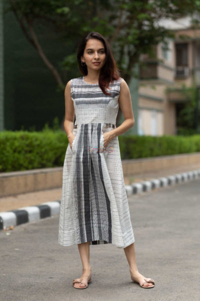 Kessa Ws552 Black And Grey South Cotton Dress Featured