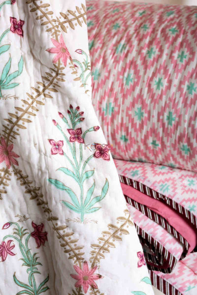 Kessa Kaq39 Coral Tree Pink Double Bed Quilt Closeup