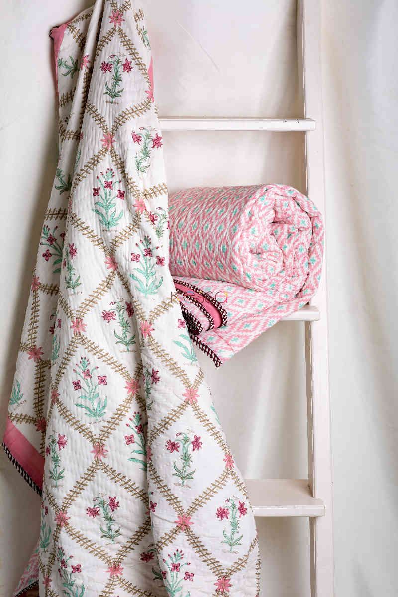 Kessa Kaq39 Coral Tree Pink Double Bed Quilt Featured