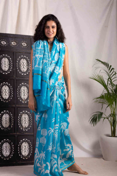Kessa Kunf08 Lochinvar Blue White Bengal Silk Saree