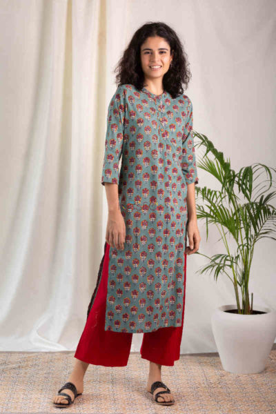 Kessa Wsr119 Willow Grove Red Kurta Front