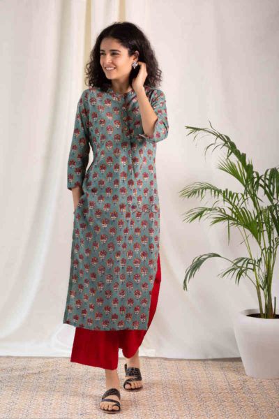 Kessa Wsr119 Willow Grove Red Kurta Pocket