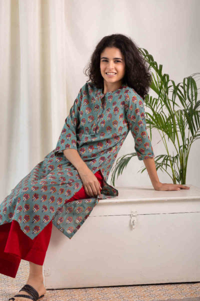 Kessa Wsr119 Willow Grove Red Kurta Sitting