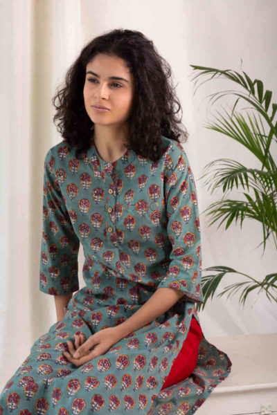 Kessa Wsr119 Willow Grove Red Kurta Top