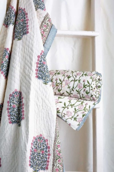 Kessa Kaq44 Puce Pink And Green Single Bed Quilt Featured