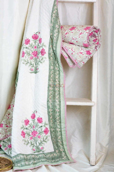 Kessa Kaq46 Turkish Rose And White Single Bed Quilt Featured