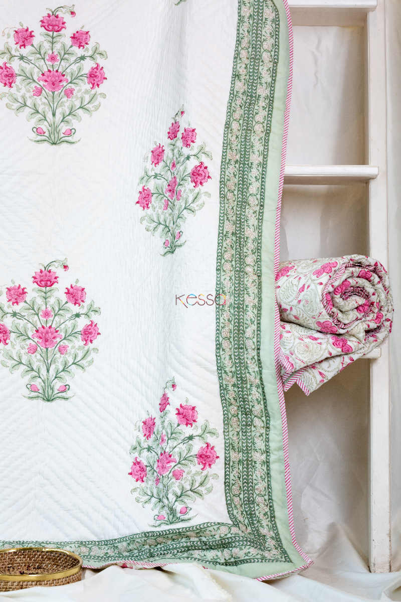 Kessa Kaq46 Turkish Rose And White Single Bed Quilt Look 1
