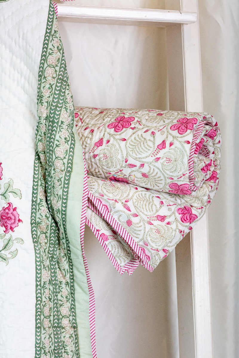Kessa Kaq46 Turkish Rose And White Single Bed Quilt Look