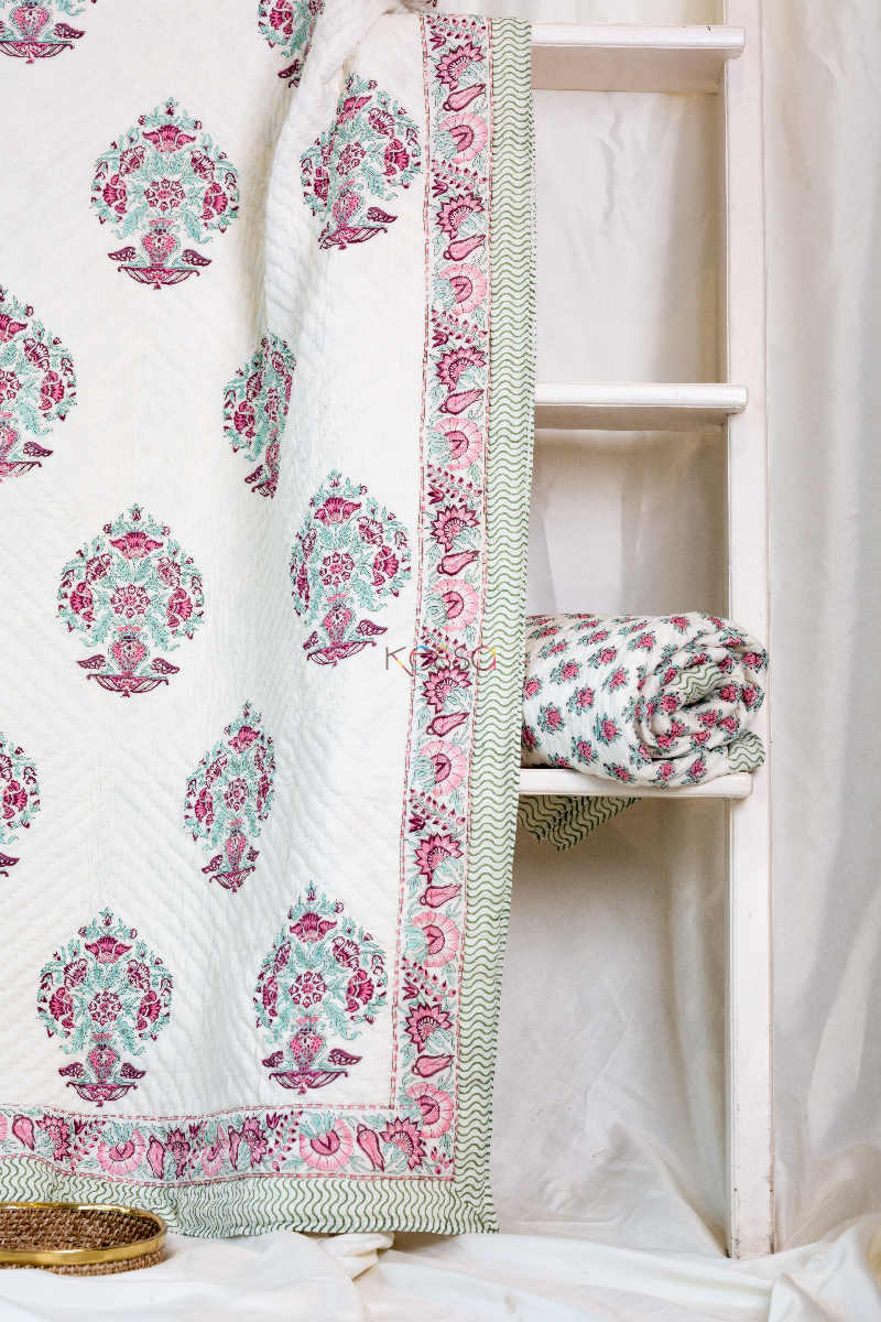 Kessa Kaq47 Sinbad Blue And Pink Single Bed Quilt Featured