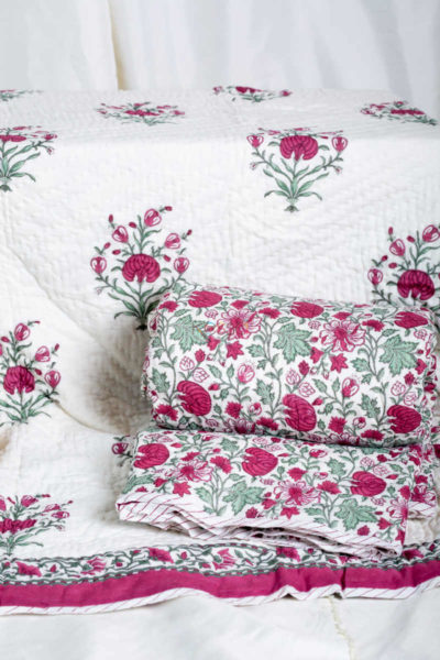 Kessa Kaq54 Tapestery Pink And Green Double Bed Quilt Featured