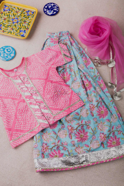 Kessa Aj14 Bandhani Rock Blue And Pink Complete Girl Set Featured