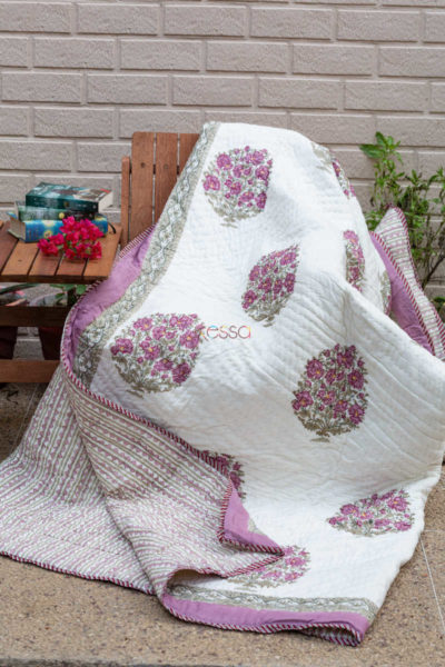 Kessa Kaq57 Bouquet Pink And Green Double Bed Quilt 1