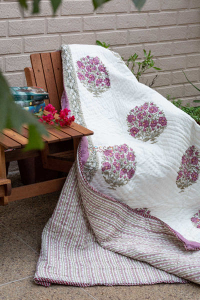 Kessa Kaq57 Bouquet Pink And Green Double Bed Quilt