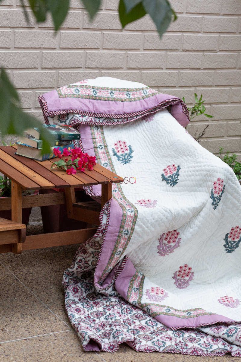 Kessa Kaq58 Lily Pink And Red Double Bed Quilt