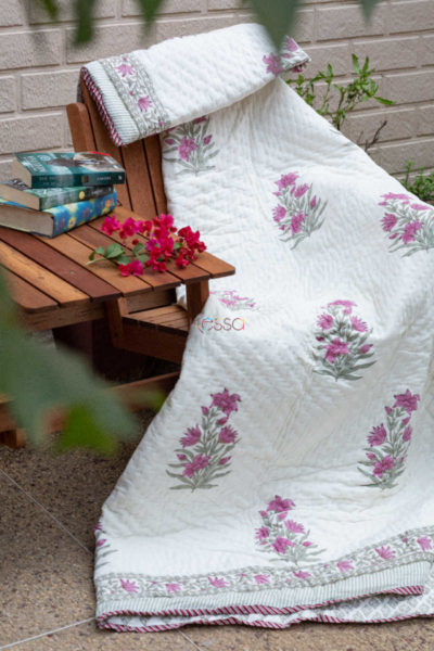 Kessa Kaq66 Cannon Pink And Green Double Bed Quilt 1
