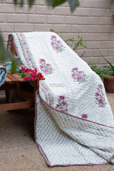 Kessa Kaq66 Cannon Pink And Green Double Bed Quilt