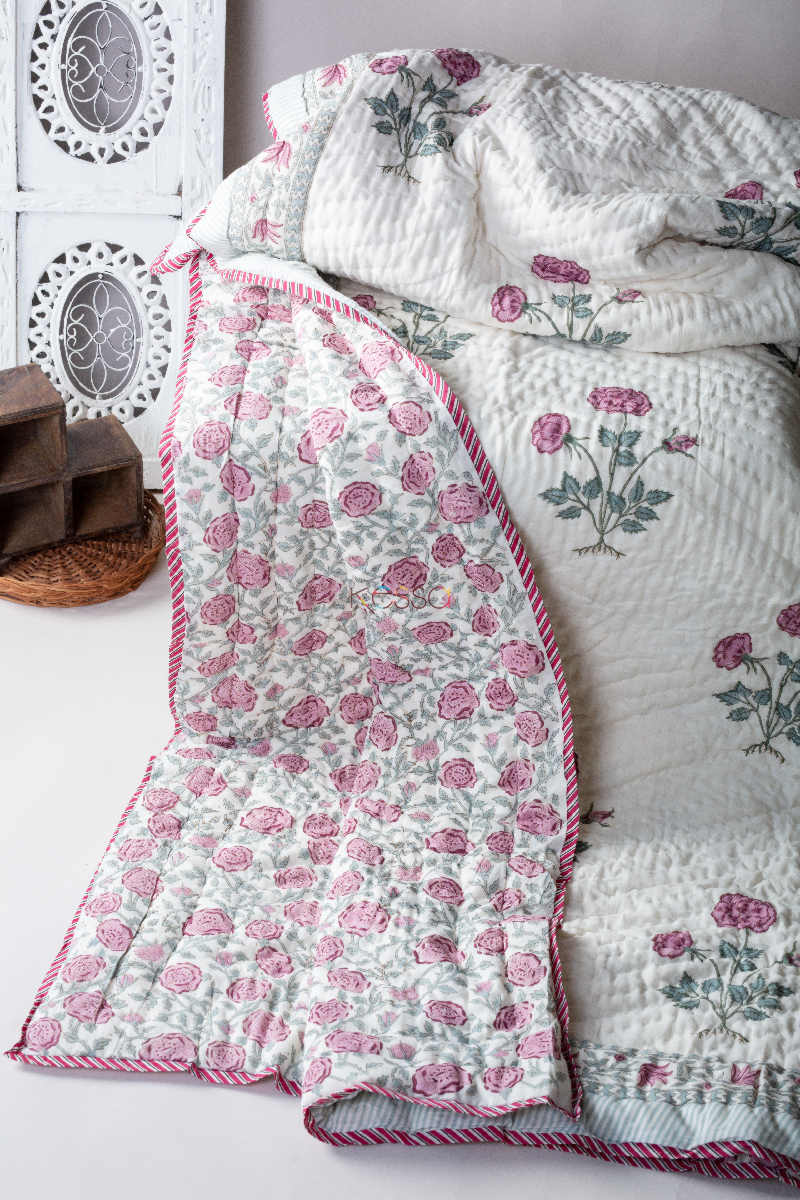 kessa kaq76 viola pink and green double bed quilt featured