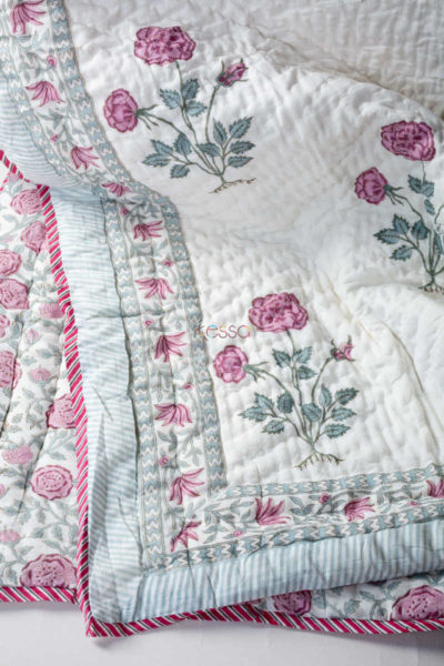 kessa kaq76 viola pink and green double bed quilt look