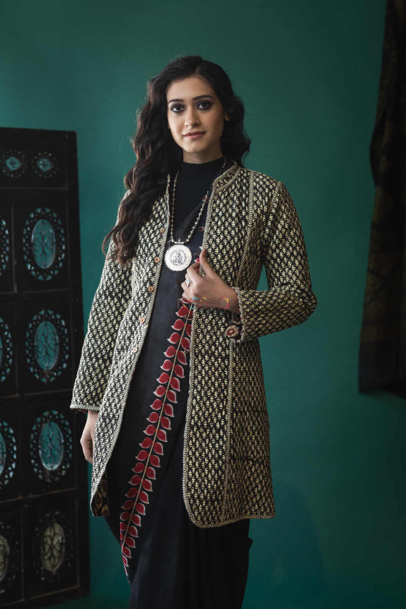 kessa vjf06 black and maroon double side full sleeves quilted jacket 1 front 1