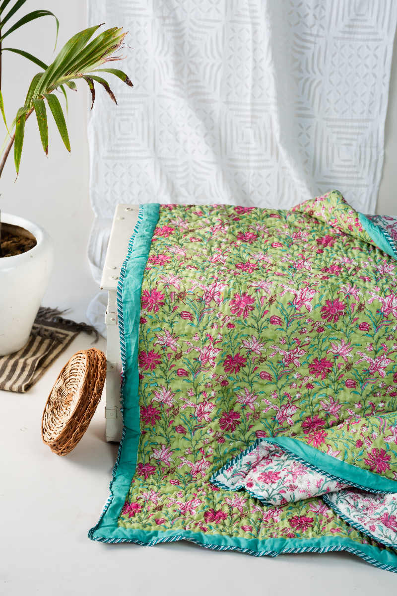 kessa kaq111 olivine green double bed quilt featured