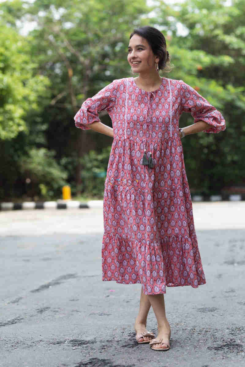 Kessa Avdaf32 Paisley Dress With Lace Tassel Details Featured