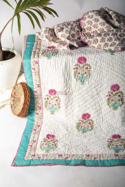 Kessa Kaq127 Cararra White Double Bed Quilt Featured
