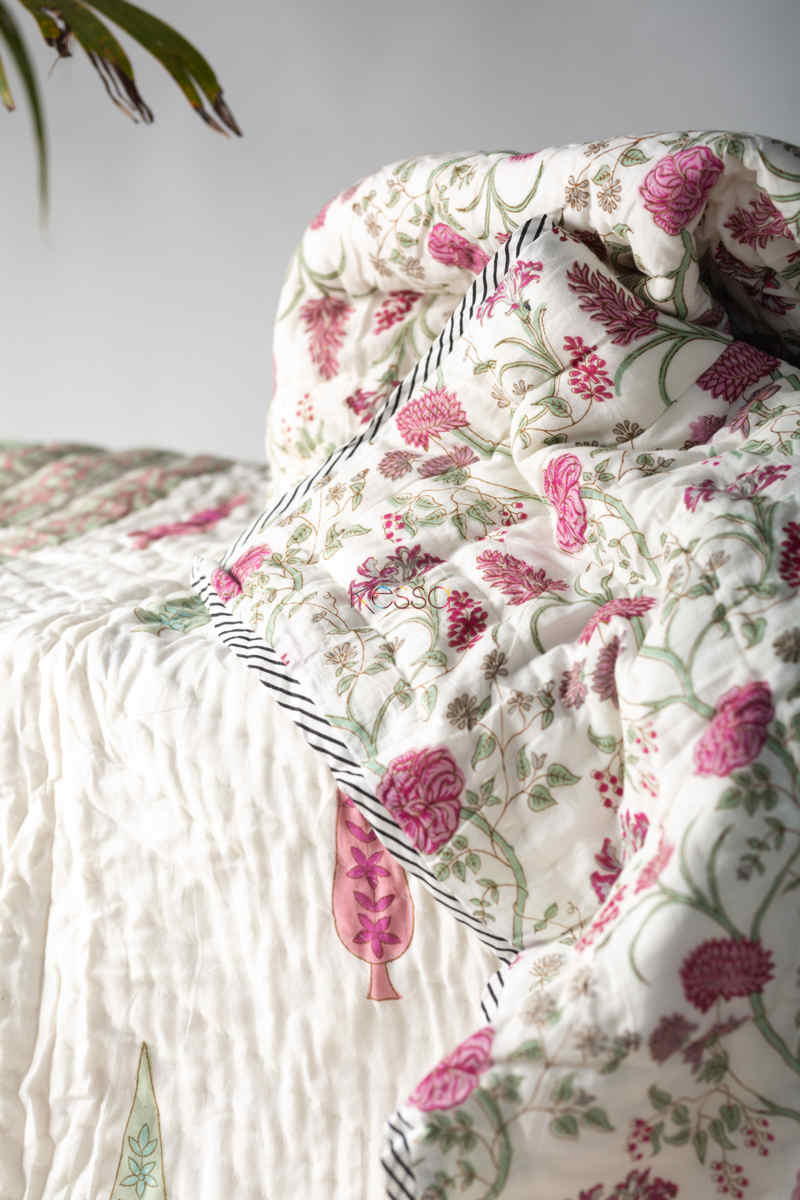 Kessa Kaq130 Spring Wood White Double Bed Quilt Look 1