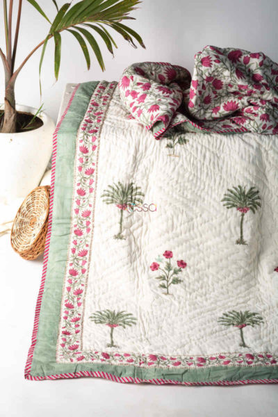 Kessa Kaq131 Pampas White Double Bed Quilt Featured