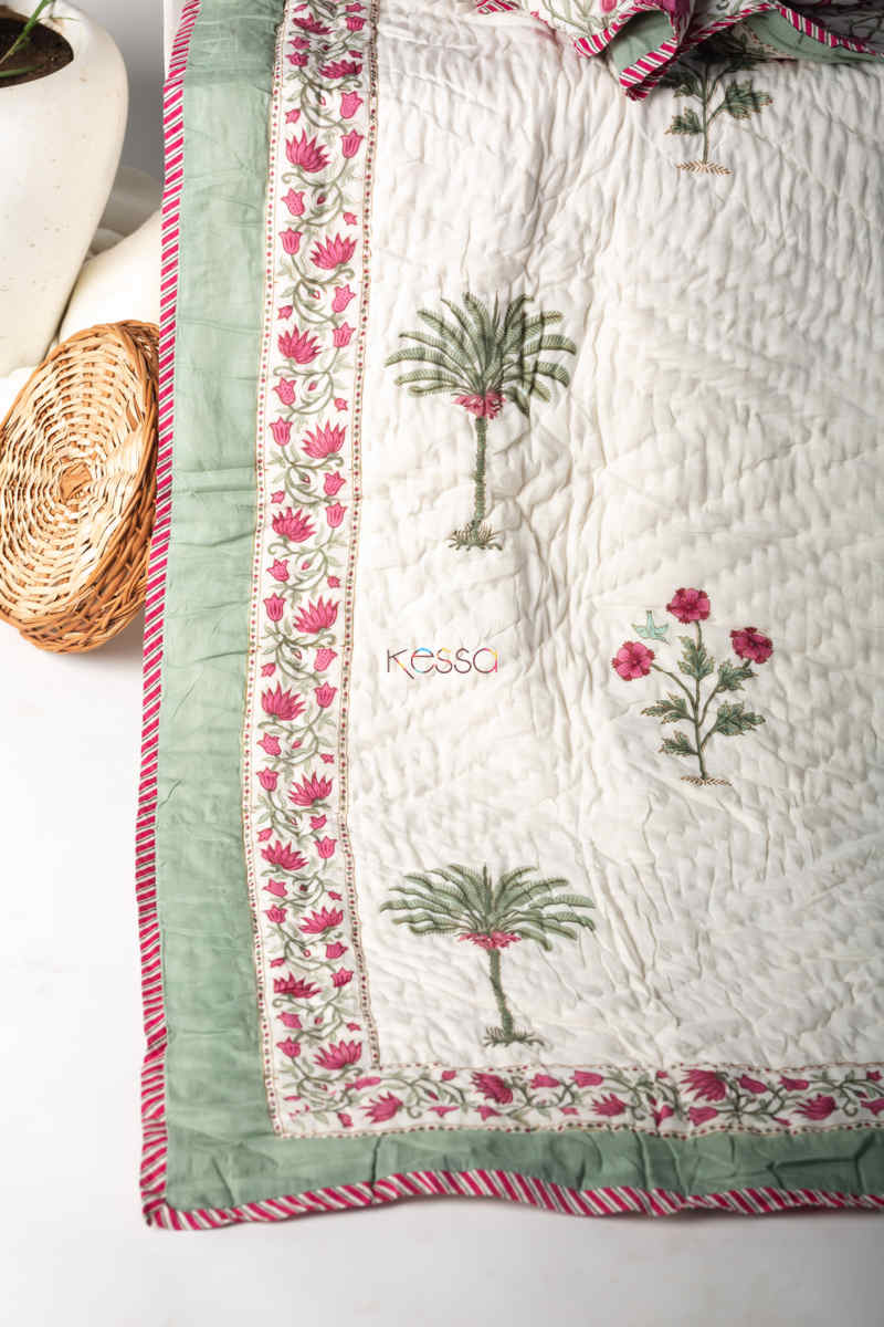 Kessa Kaq131 Pampas White Double Bed Quilt Look
