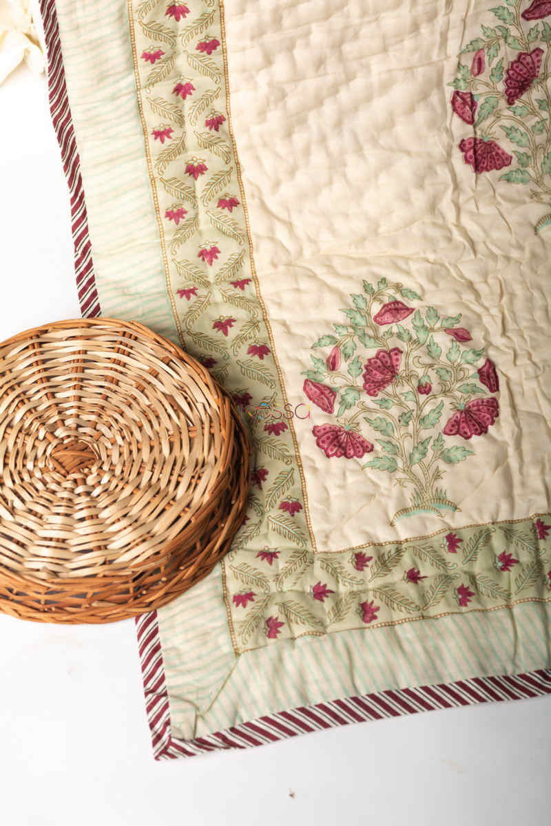 Kessa Kaq132 Pampas White Double Bed Quilt Look 1