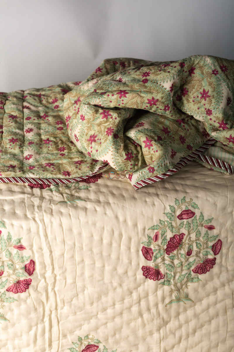 Kessa Kaq132 Pampas White Double Bed Quilt Look