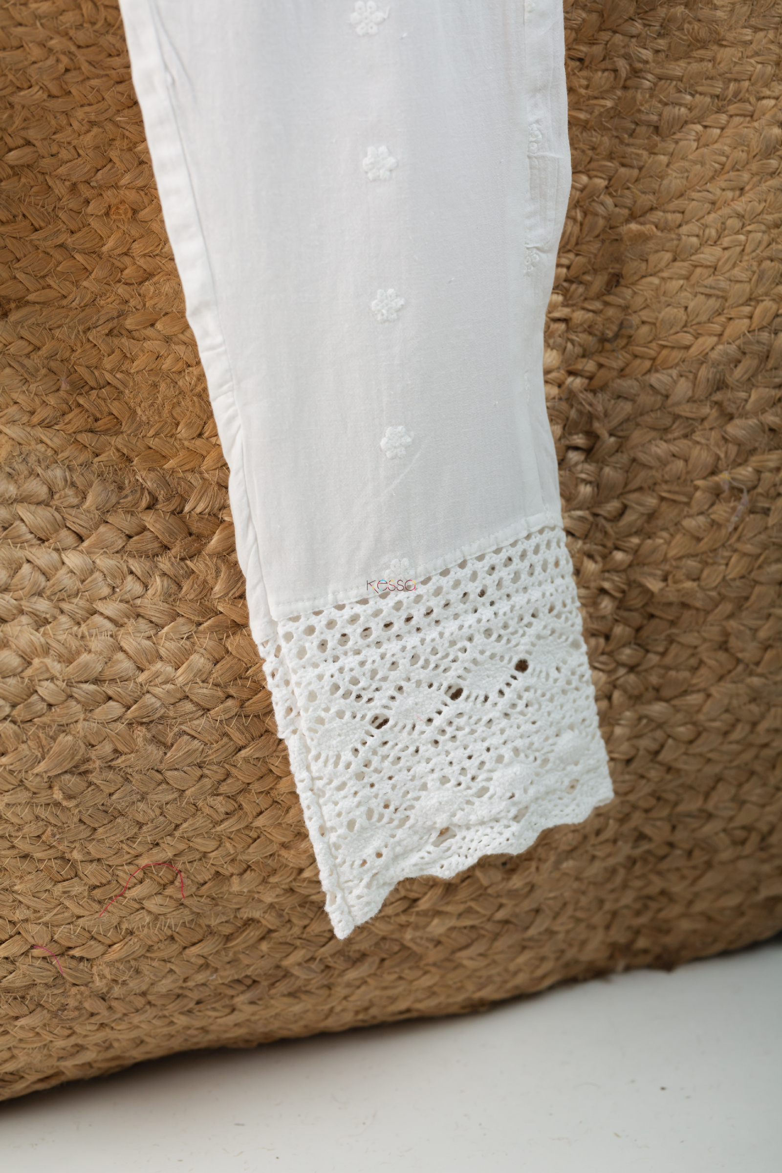 Kessa Ve06 Lace White Cotton Muslin Pant With Lace Bottom Hd