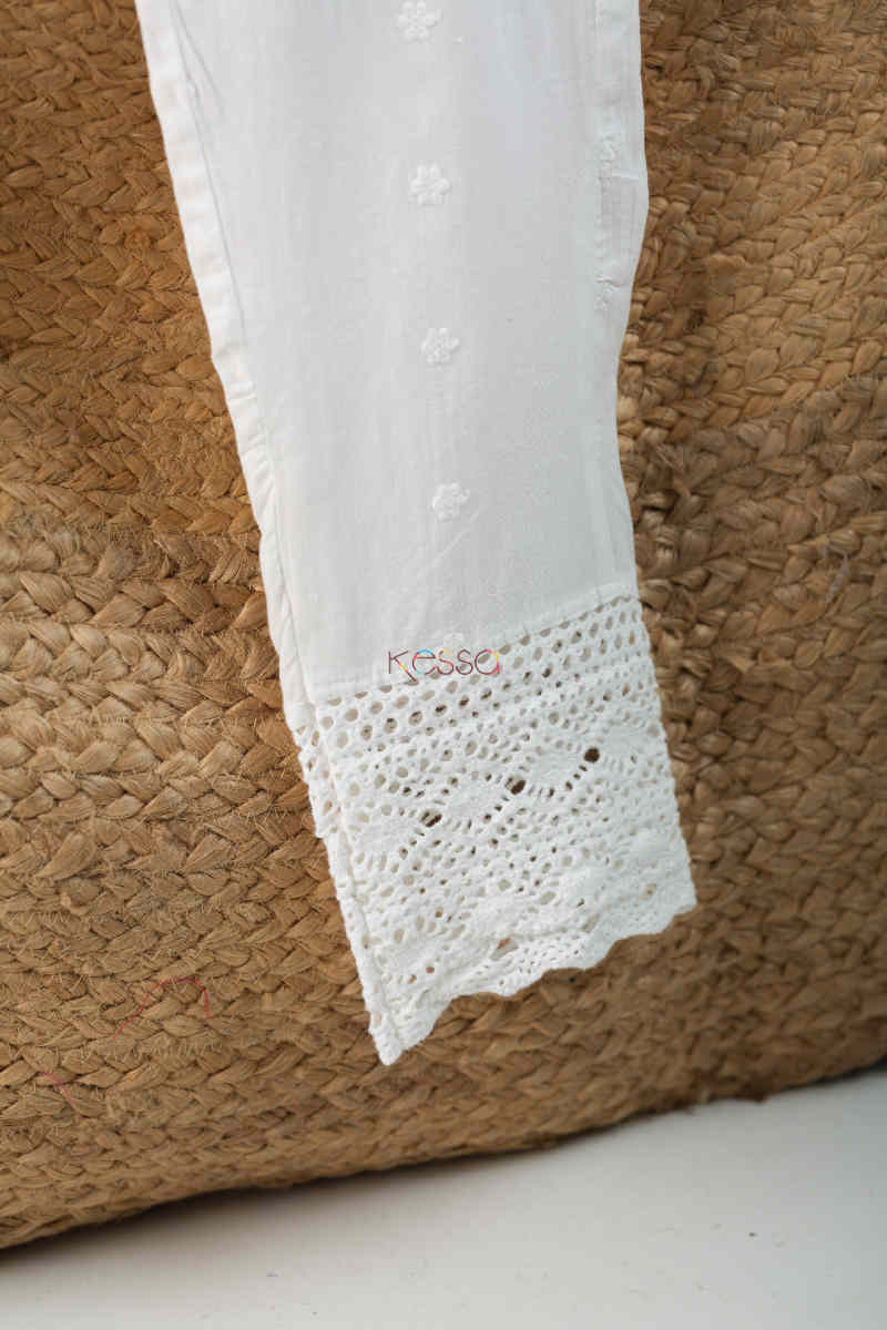 Kessa Ve06 Lace White Cotton Muslin Pant With Lace Bottom