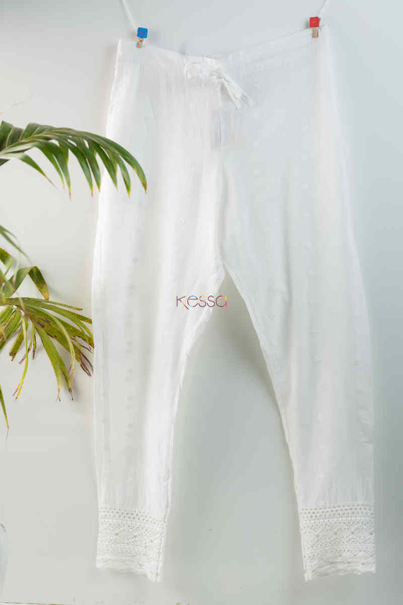 Kessa Ve06 Lace White Cotton Muslin Pant With Lace Featured