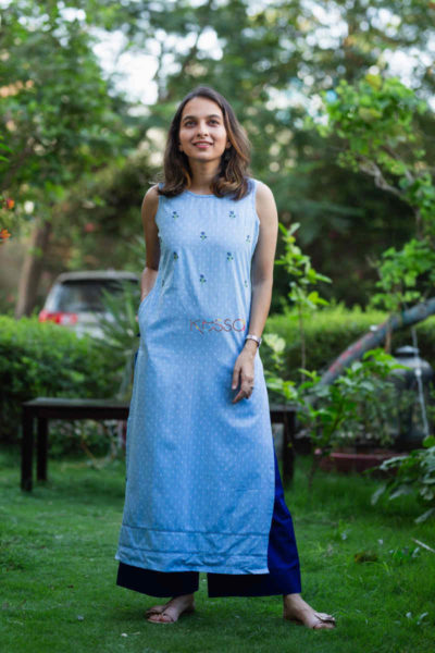 Kessa Ws690 Fiza Kurta With Kantha And Embroidery Featured
