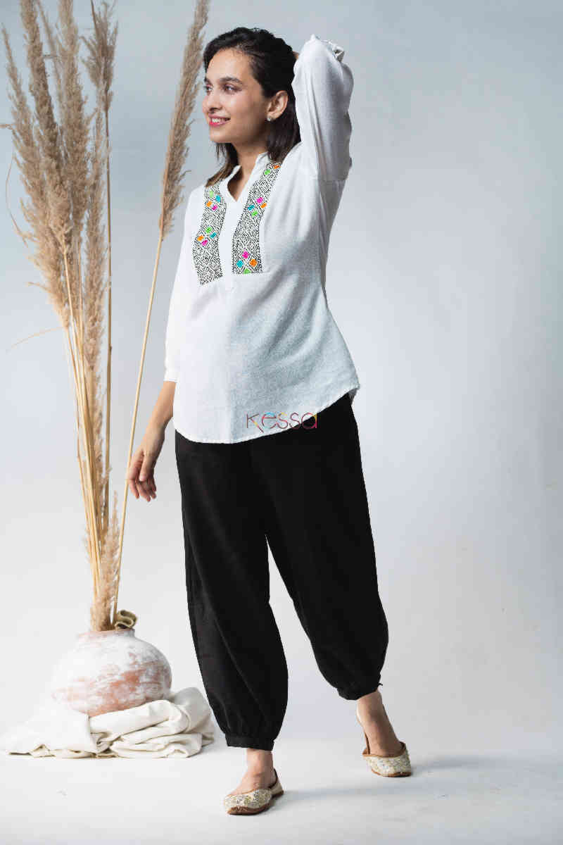 Kessa Avdaf40 Badra Top With Embroidery Details Look