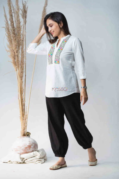 Kessa Avdaf40 Badra Top With Embroidery Details Side