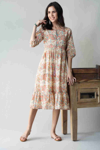 kessa avdaf52 chulbuli tiered dress with quirky prints front