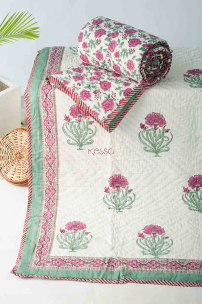 Kessa Kaq143 Carissma Pink And White Single Bed Quilt Featured