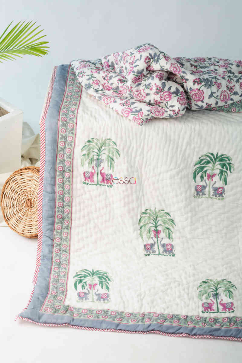 Kessa Kaq148 Pampas White Double Bed Quilt Featured