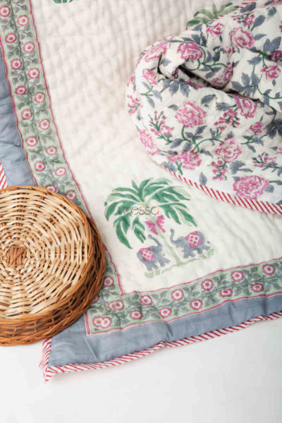Kessa Kaq148 Pampas White Double Bed Quilt Look 1