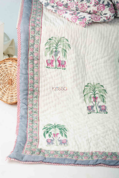 Kessa Kaq148 Pampas White Double Bed Quilt Look