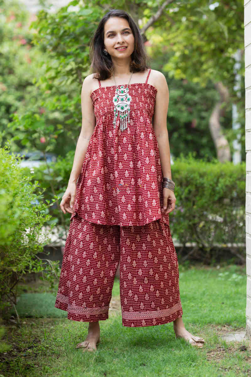 Kessa Kcb14 Tabeer Top And Palazzo Set With Hand Block Print Featured